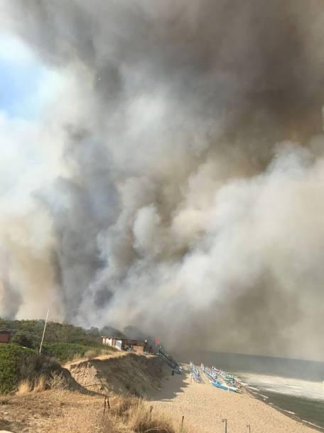 incendio metaponto spiaggia