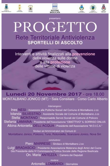 Locandina progetto antiviolenza