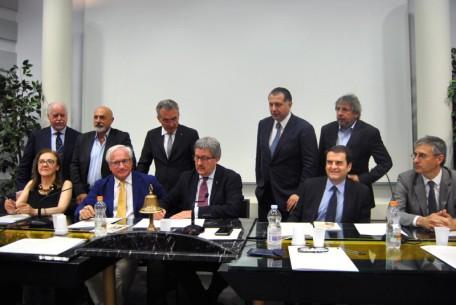 CamcomMt - firma protocollo Mt - Pv da six presidente CC Pavia Bosi_presidente CCMatera Tortorelli