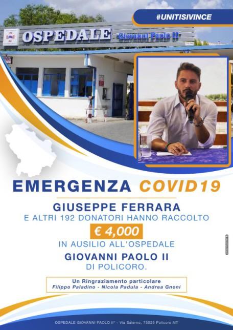 Targa Raccolta fondi ospedale di Policoro