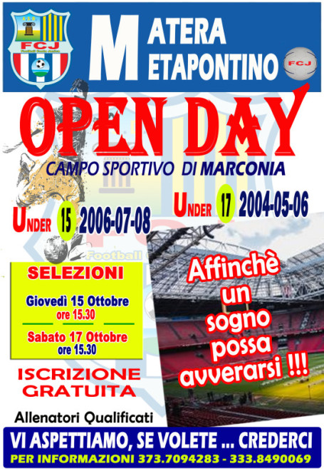 locandina OPEN DAY UNDER 15 E 17 copia