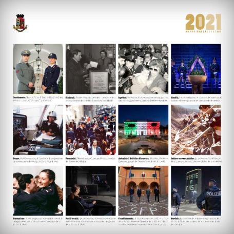 In una foto dell'ufficio stampa, una delle12 immagini del calendario istituzionale della Polizia di Stata 2021, presentat dal capo della Polizia Franco Gabrielli nel suo studio in diretta streaming, insieme Gianni Letta, Roma, 6 novembre 2020. Le foto, scattate da vari fotografi e in epoche diverse, sintetizzano i 40 anni di storia iniziata nel 1981, anno della legge numero 121 che ha riconosciuto nella Polizia di Stato la prima forza di polizia civile ad ordinamento speciale e delineato il sistema della Pubblica Sicurezza in Italia. ANSA +++ HO NO SALES - DITORIAL USE ONLY +++ o +++ ANSA PROVIDES ACCESS TO THIS HANDOUT PHOTO TO BE USED SOLELY TO ILLUSTRATE NEWS REPORTING OR COMMENTARY ON THE FACTS OR EVENTS DEPICTED IN THIS IMAGE; NO ARCHIVING; NO LICENSING +++