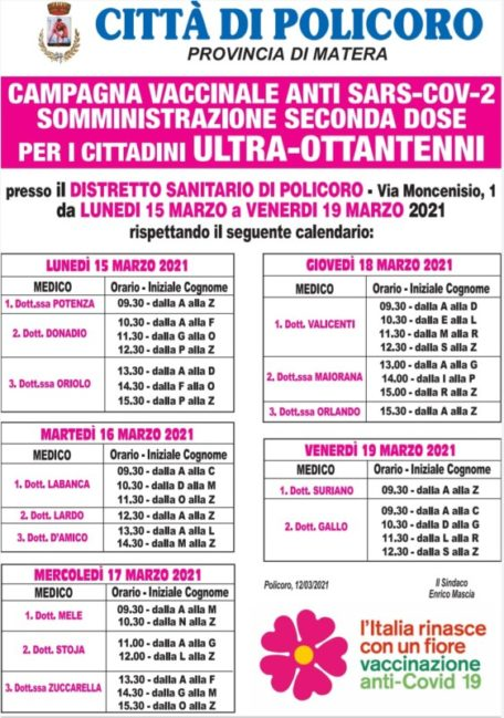 POLICORO CALENDARIO SECONDA DOSE VACCINI ULTRA 80ENNI